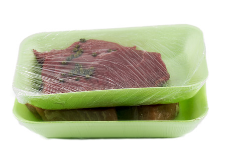 raw meal in box for market on white