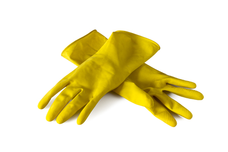 Yellow rubber gloves isolated on white background Stock Photo