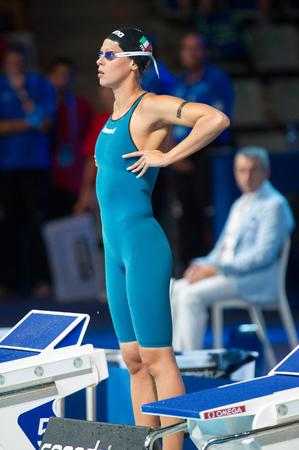 BARCELONA - JULY  30:  Federica Pellegrini in action during Barcelona FINA World  Swimming Championships  on July 30, 2013 in Barcelona, Spain