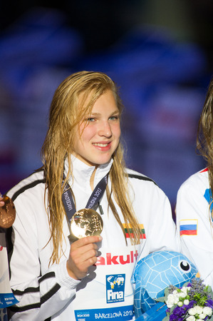 ruta: BARCELONA - JULY  30: Ruta Meilutyte during  victory ceremony, Barcelona FINA World  Swimming Championships on July 30, 2013 in Barcelona, Spain
