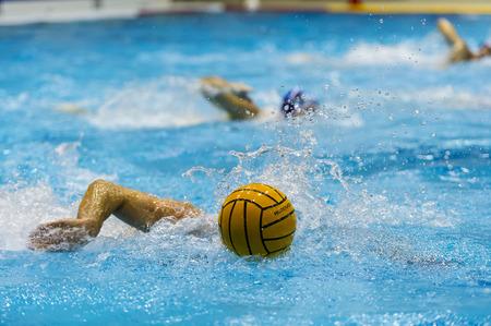water polo: juego de waterpolo en la piscina nadador Foto de archivo