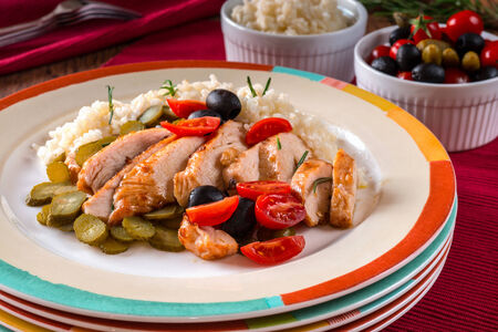 salad with roasted chicken meat and white rice photo