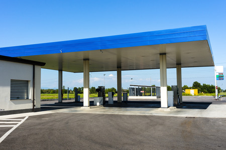 gas station in sun light
