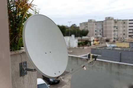 telecast:  white satellite dishes