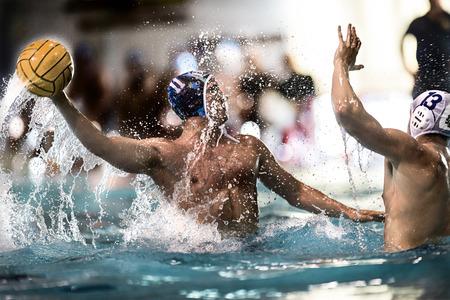 piscina olimpica: GENOVA, 23 de mayo: Andrea Razzi (Bpm Sport Management) lanzar el bal�n en juego BPM Sport Management -Lavagna Di Meglio el 23 de mayo de 2014, Genova (Italia).