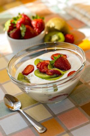 Strawberry & kiwi homemade yogurt photo