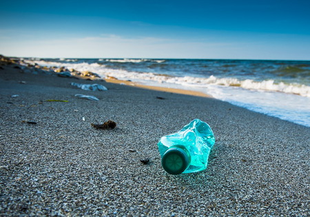 Pollution and inorganic waste on sea beach