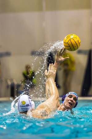 bpm: TURIN, FEBRUARY, 22:  Leonardo Binchi  ( Bpm Sport Management ) shooting the ball in game BPM Sport Management - Torino 81 - Water Polo Italian League,   on February 22, 2014 , Turin ( Italy).
