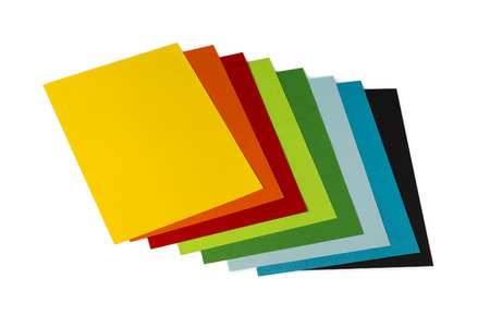 origami mixed  colorated papers on white background Stock Photo
