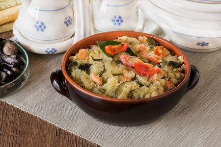 Cous Cous whit shrmps and  vegetables photo