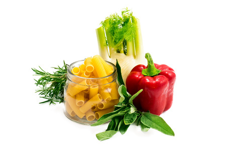 Mediterranean diet: mixed vegetables and italian pasta Stock Photo