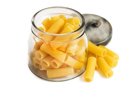 macaroni: italian pasta called macaroni on white background