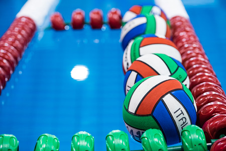 MILAN ,  DECEMBER 13 :  Ballons ready for game  in   Water Polo Italian Premier League  on December 13, 2014 , Milan  ( Italy). photo