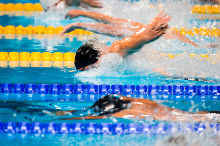 Butterfly men swimming race on swimming pool Stock Photo
