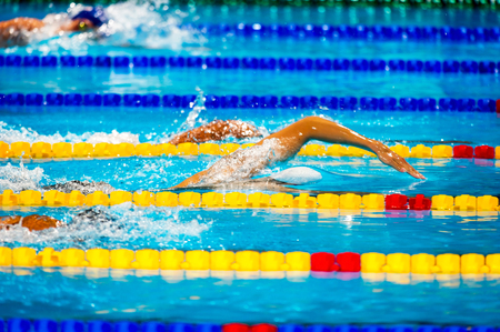 free style men  competition in swimming pool Stock Photo