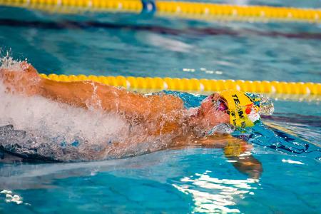backstroke: MILAN - DECEMBER  23: M. Cofrani   (Italy)  backstroke performing in  Swimming Meeting Brema Cup on December  23, 2014 in Milan, Italy.