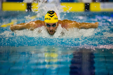 MILAN - DECEMBER  23:  Davide Cova  (Italy)  butterfly performing in  Swimming Meeting Brema Cup on December  23, 2014 in Milan, Italy. Editorial
