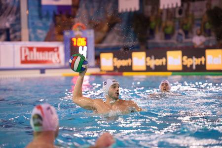 piscina olimpica: MIL�N, 30 de enero: Carlo Di Fulvio (6, blanco - Bpm Sport Management) en el juego BPM Gesti�n del Deporte - Como Nuoto el 30 de enero de 2015, Mil�n (Italia). Editorial