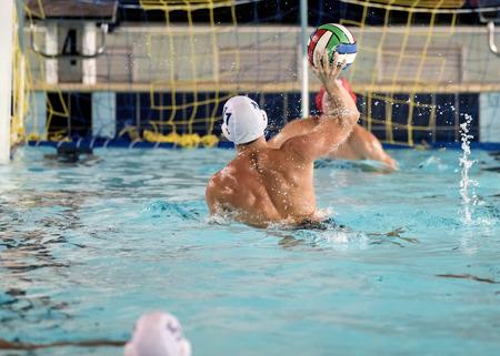 piscina olimpica: jugadores de polo acuático en la piscina