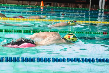 piscina olimpica: Lecco (Italia) - 19 de febrero: Mattia Schirru (Italia) la realización de 200 metros estilo libre en italiano Natación Reunión el 19 de febrero de 2015, de Lecco (Italia).