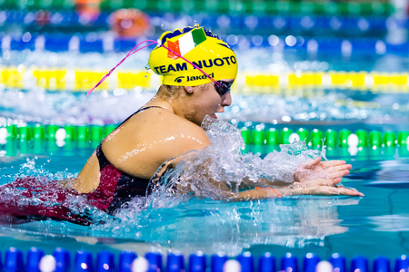 piscina olimpica: DESENZANO GARDA (ITALIA) - 1 de marzo: Ilaria Rosa (Italia) la realizaci�n de 200 metros braza en italiano Nataci�n reuni�n el 1 de marzo de 2015, de Desenzano Garda (Italia).