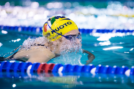 DESENZANO GARDA  (ITALY) - MARCH 1:    Ilaria Rosa  ( Italy)  performing  200 mt breaststroke in Italian  Swimming Meeting  on March  1, 2015  in Desenzano Garda ( Italy).