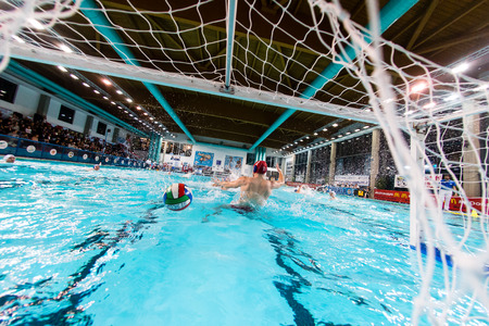 MANTOVA - FEBRUARY 19:  Ball in the net  in game  BPM Sport Management   - Florence ( Italian Premiere League) on February 19, 2015  in Mantova, Italy.