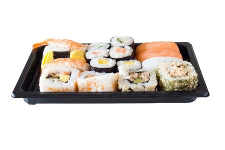 Sushi packs for supermarket in white background