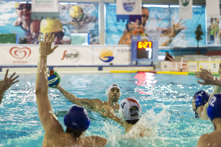 MILAN - MAY 12: M. Luongo (  Bpm Sport Management) in game BPM Sp. Management vs Pro Recco  - Italian Water Polo Play Off on May 12, 2015 in Milan, Italy.