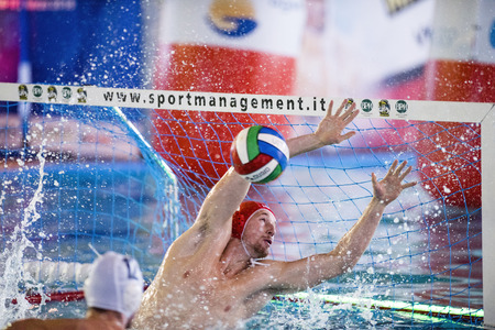 oliva: MILAN - APRIL 19: Paolo Oliva ( Goalie, Bpm Sport Management) in game BPM Sp. Management vs CC Napoli- Italian Water Polo Premier League on April 19, 2016 in Milano, Italy.