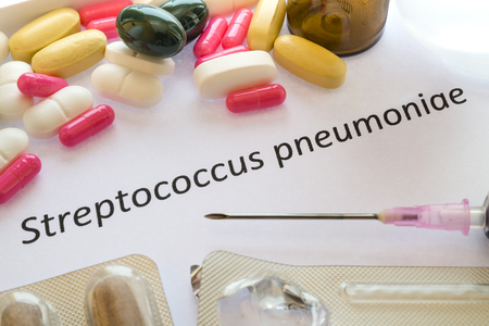Diagnosis- Medical report about  Streptococcus pneumoniae and  Medicaments, pills, Syringe.