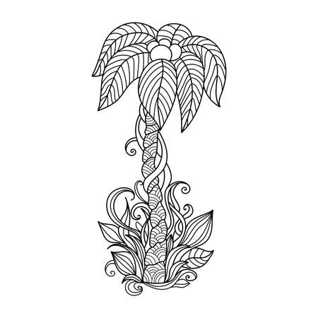 summer trees: Palm tree. Hand drawn illustration.Pattern for coloring book. Black and white background.