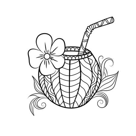 Exotic coconut cocktail sketch.