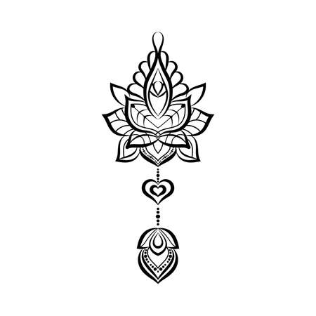ornamental Tattoo, Hand drawn illustration in doodle style.