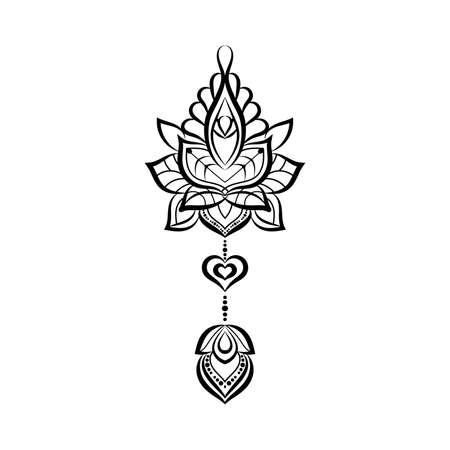 Sier Tattoo, Hand getekende illustratie in doodle stijl.