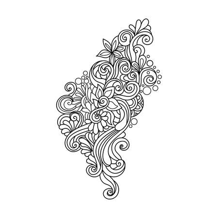 Estampado De Flores Zentangle En Blanco Y Negro. Página Para ...