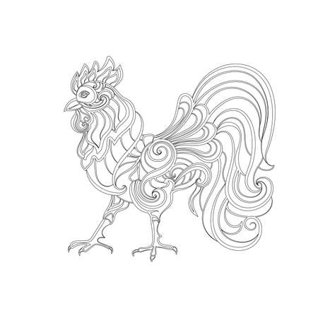 cock hand: ?ontour cock. Hand drawn sketch for adult anti stress coloring page.