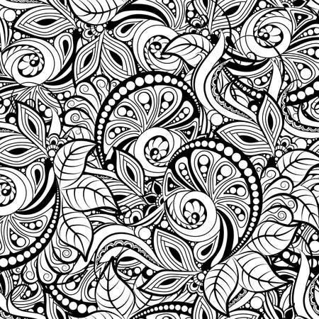 black and white seamless pattern in a zentangle style, Hand-drawn design illustration Ilustração