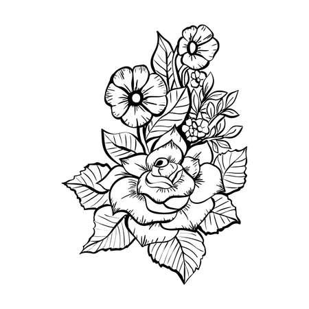 hand drawn flowers. black and white bouquet with roses Ilustração