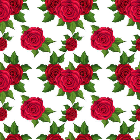 Seamless floral pattern. wallpaper with  red roses on white background. Illustration