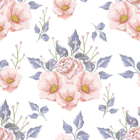 Floral pattern with soft blue bouquets of flowers.
