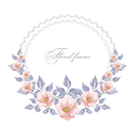 Round frame with  flowers design.