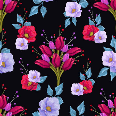Floral pattern with colorful bouquets of flowers Ilustração