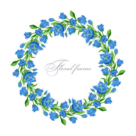 Floral round frame with  bluebell