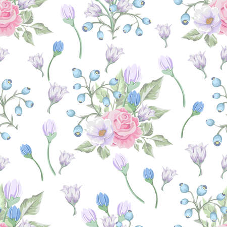 Floral pattern with bouquets of flowers