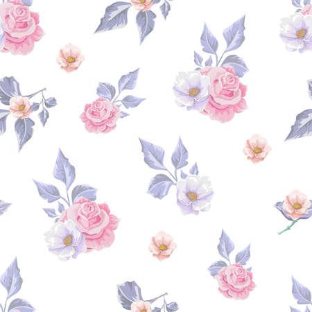 Floral pattern with soft pink  bouquets of flowers. Ilustração