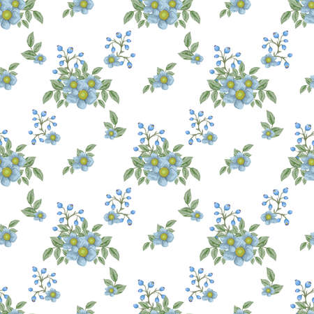 Bouquets of flowers pattern design template.