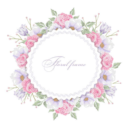 Floral round frame with  bouquets of flowers design template. Ilustração