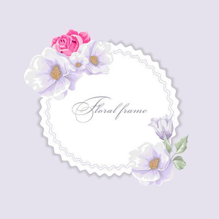 Round frame with bouquets of flowers design template. Ilustração