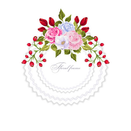 Bouquets of flowers frame design border template.